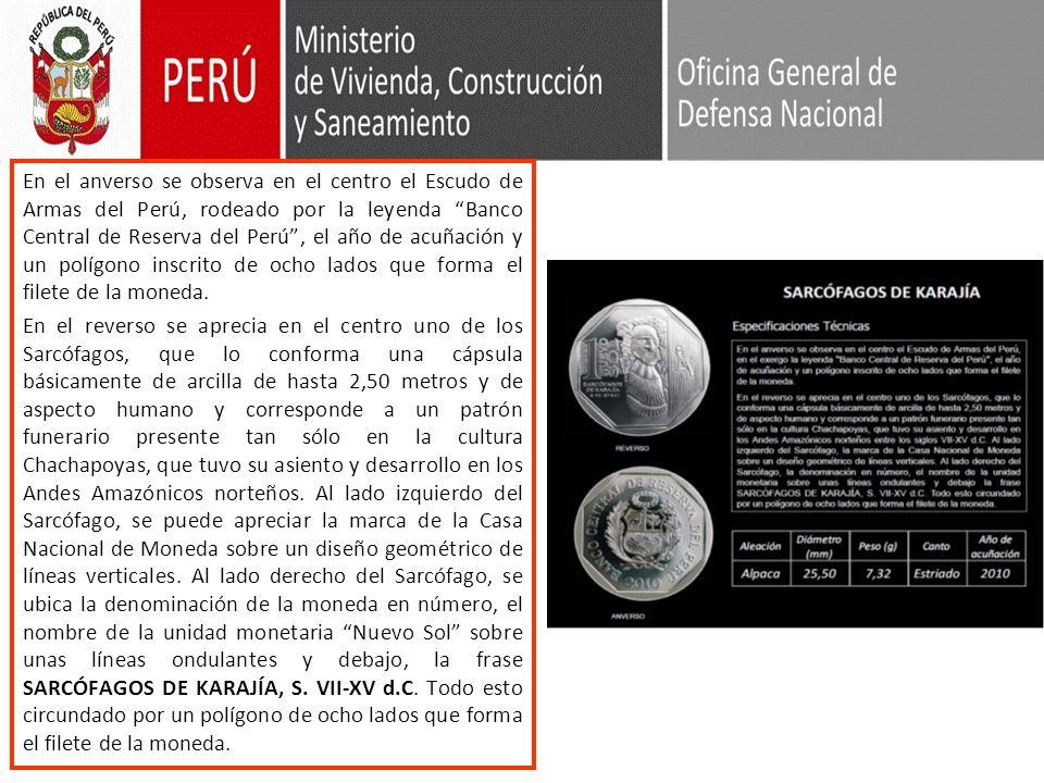 En el anverso se observa en el centro el Escudo de Armas del Perú, rodeado por la leyenda Banco Central de Reserva del Perú , el año de acuñación y un polígono inscrito de ocho lados que forma el filete de la moneda.