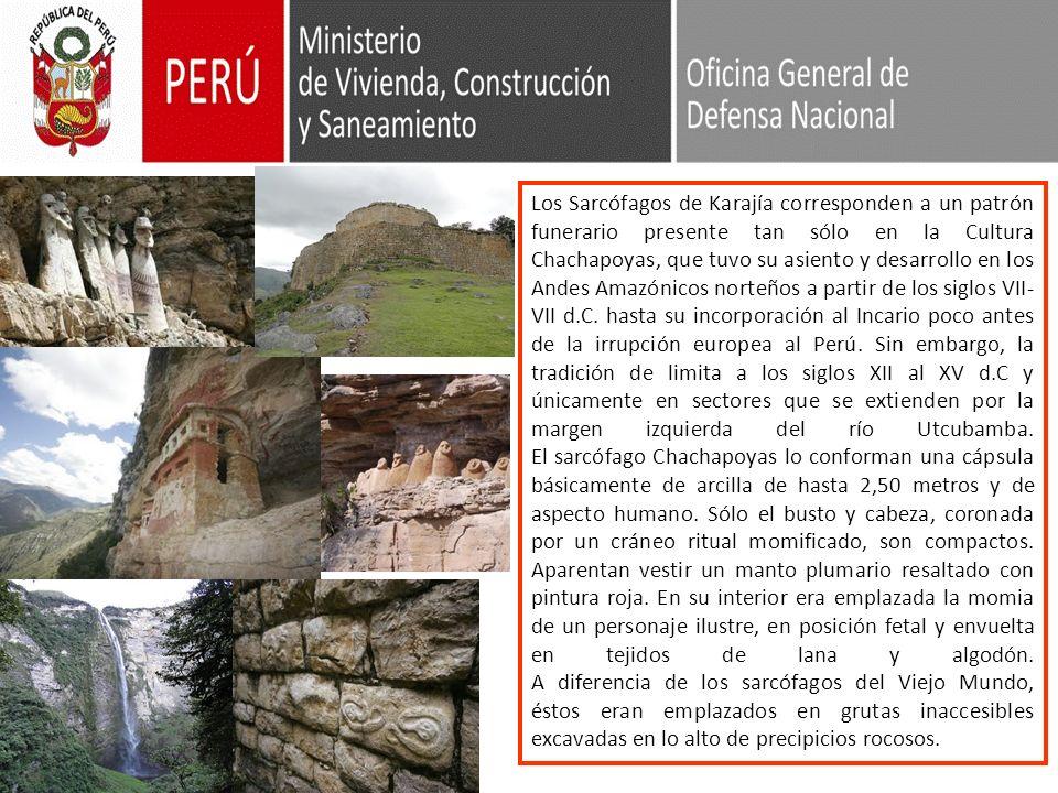 Los Sarcófagos de Karajía corresponden a un patrón funerario presente tan sólo en la Cultura Chachapoyas, que tuvo su asiento y desarrollo en los Andes Amazónicos norteños a partir de los siglos VII-VII d.C.