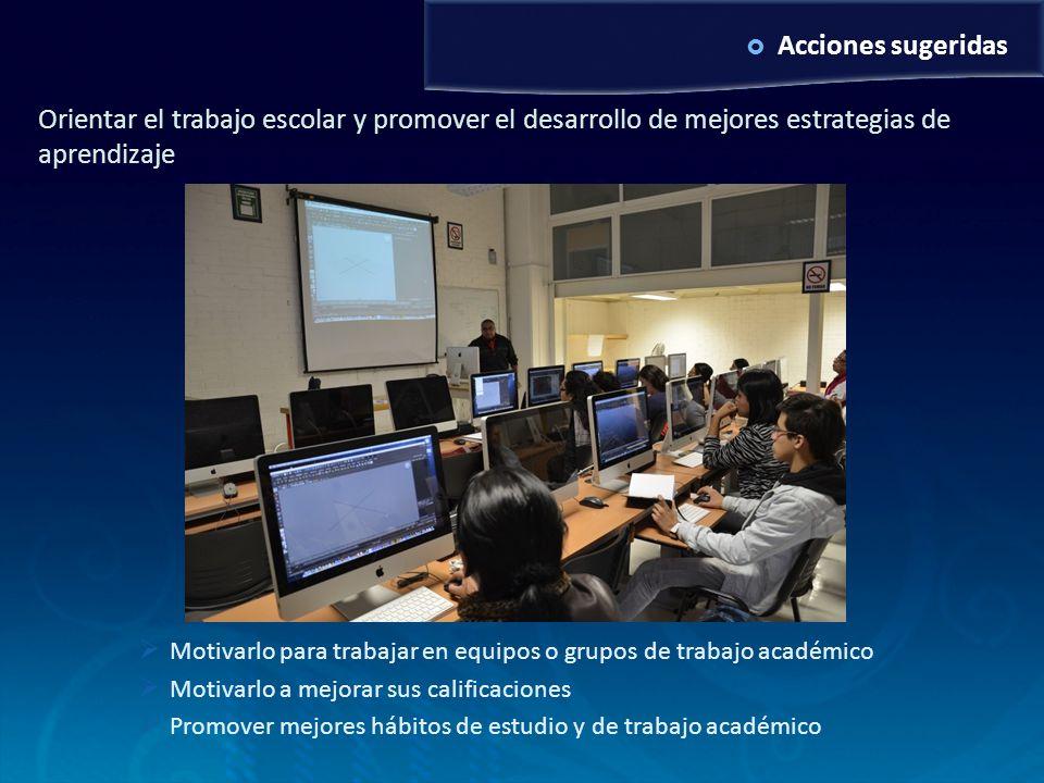 Examen de grado MAV6/10/2011. Acciones sugeridas. Orientar el trabajo escolar y promover el desarrollo de mejores estrategias de aprendizaje.