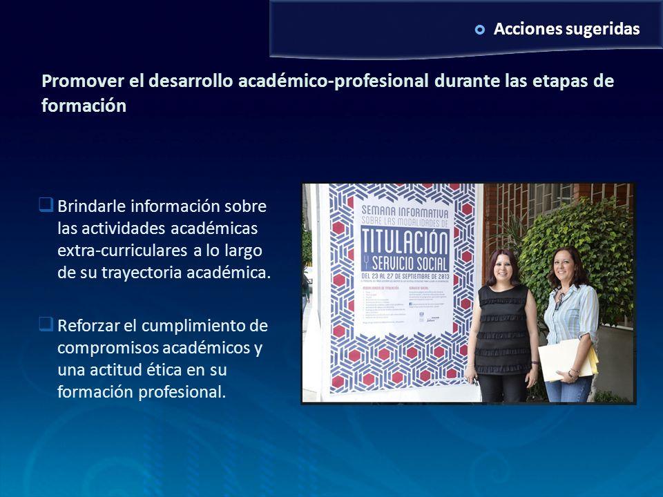 Examen de grado MAV6/10/2011. Acciones sugeridas. Promover el desarrollo académico-profesional durante las etapas de formación.