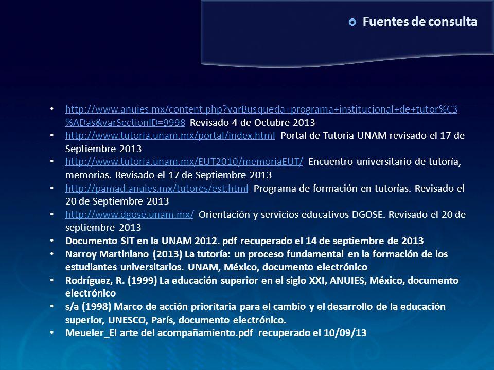 Examen de grado MAV6/10/2011. Fuentes de consulta.