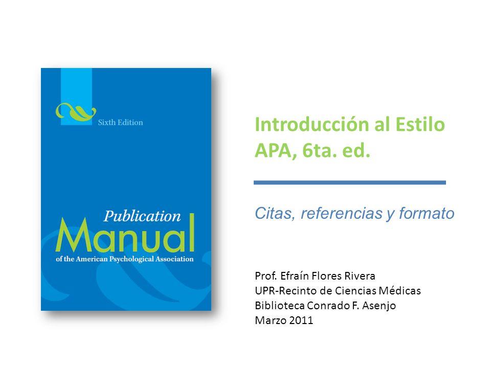 Introducción al Estilo APA, 6ta. ed. - ppt descargar