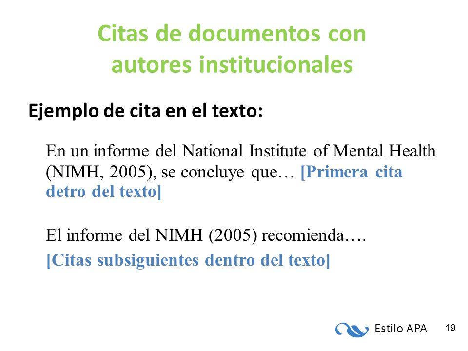 Citas de documentos con autores institucionales