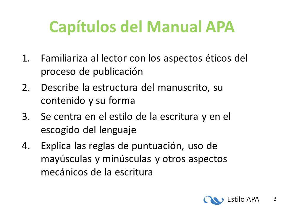 Capítulos del Manual APA