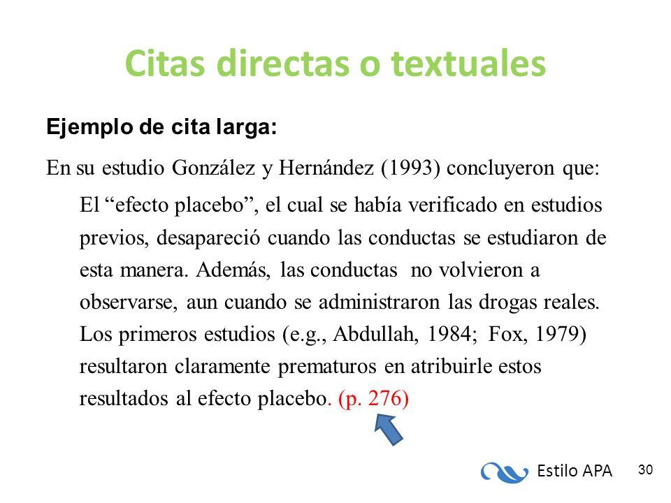 Citas directas o textuales