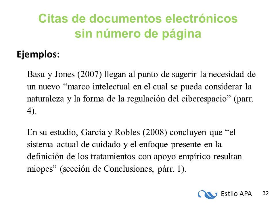 Citas de documentos electrónicos sin número de página