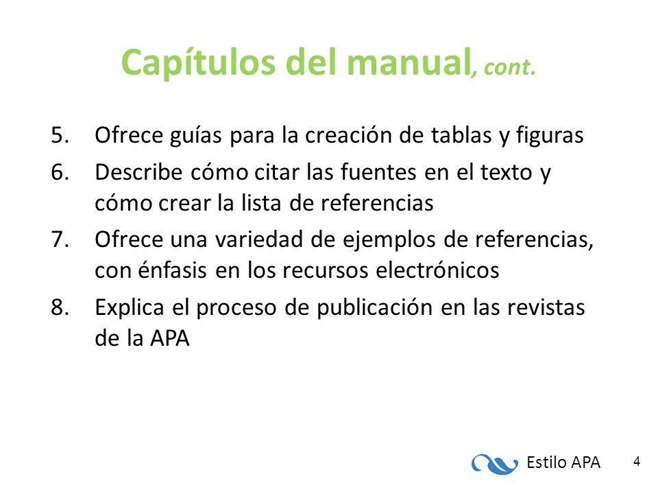 Capítulos del manual, cont.