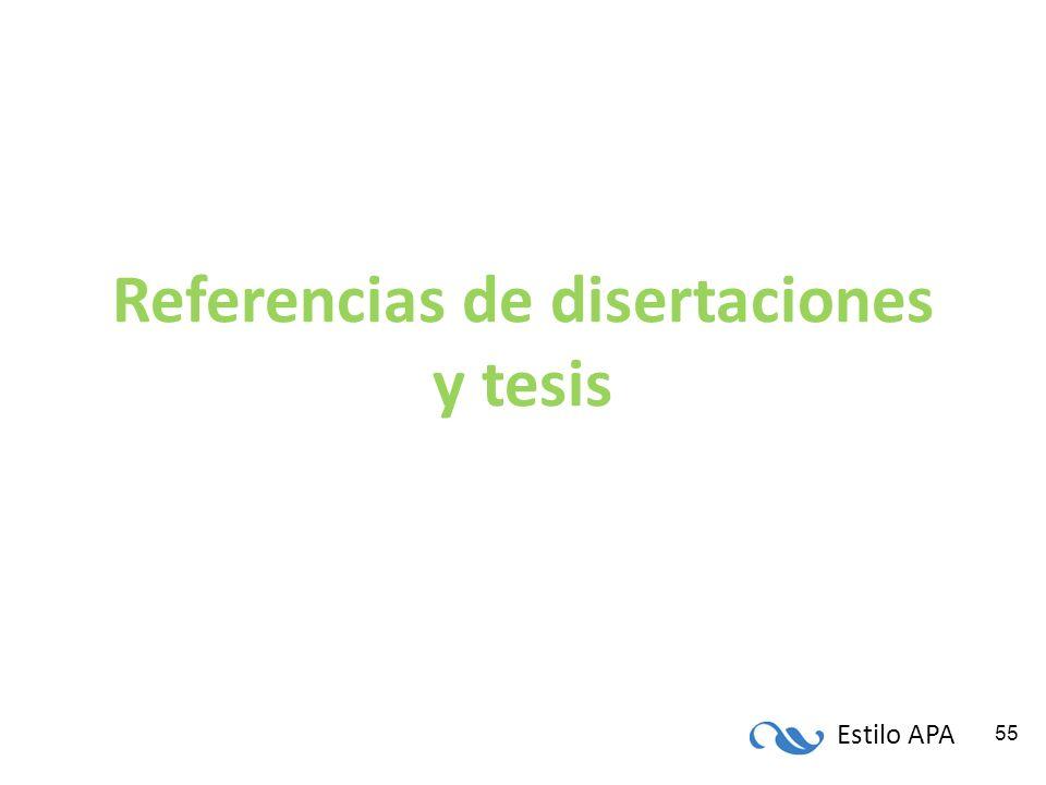 Referencias de disertaciones y tesis
