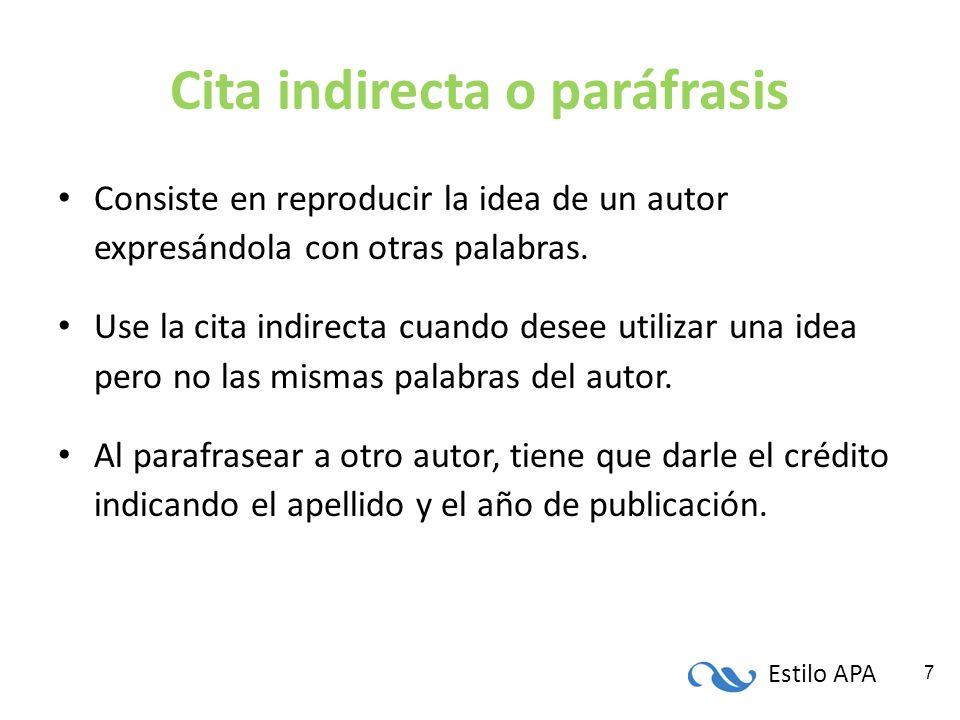 Cita indirecta o paráfrasis