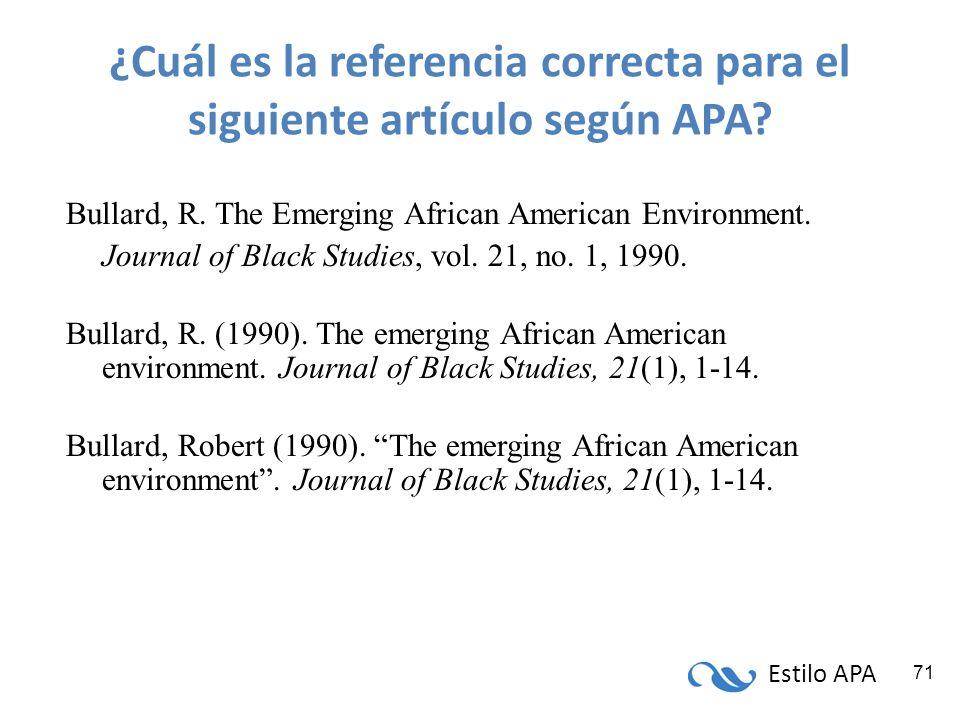 ¿Cuál es la referencia correcta para el siguiente artículo según APA