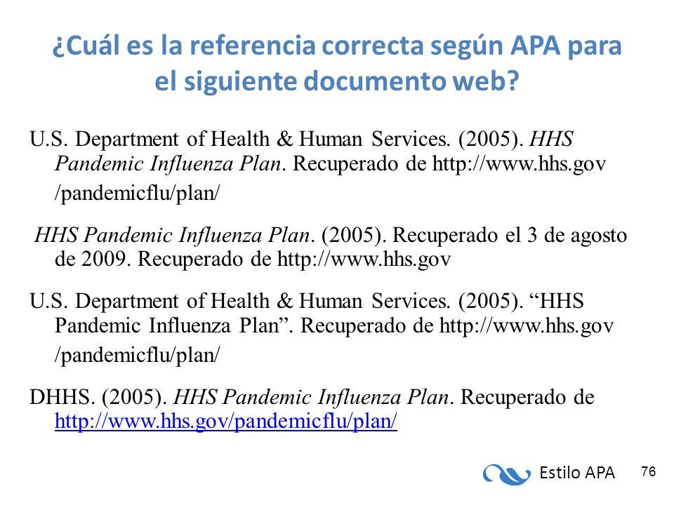 ¿Cuál es la referencia correcta según APA para el siguiente documento web