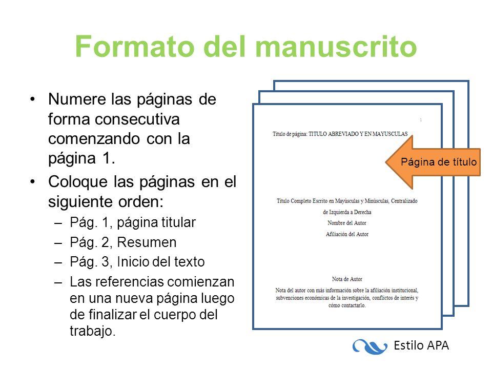 Formato del manuscrito