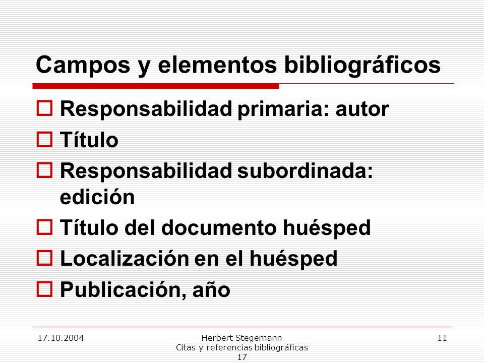 Campos y elementos bibliográficos