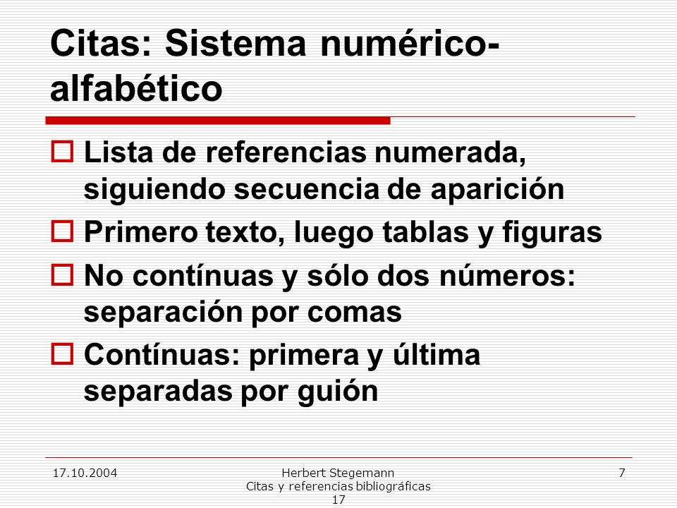 Citas: Sistema numérico-alfabético
