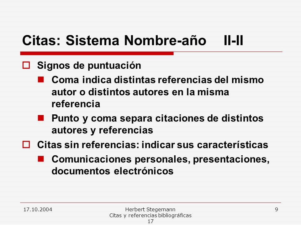 Citas: Sistema Nombre-año II-II