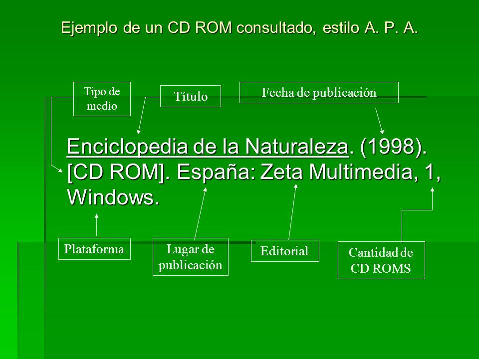 Ejemplo de un CD ROM consultado, estilo A. P. A.