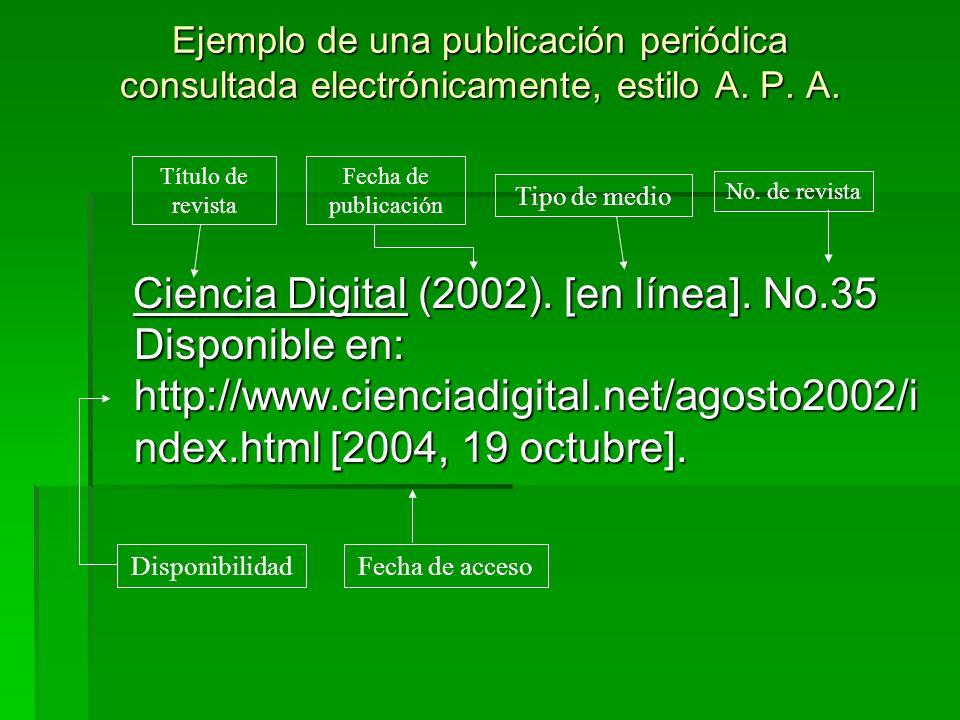 Ejemplo de una publicación periódica consultada electrónicamente, estilo A. P. A.