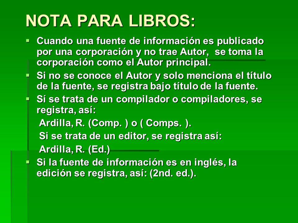 NOTA PARA LIBROS: Cuando una fuente de información es publicado por una corporación y no trae Autor, se toma la corporación como el Autor principal.