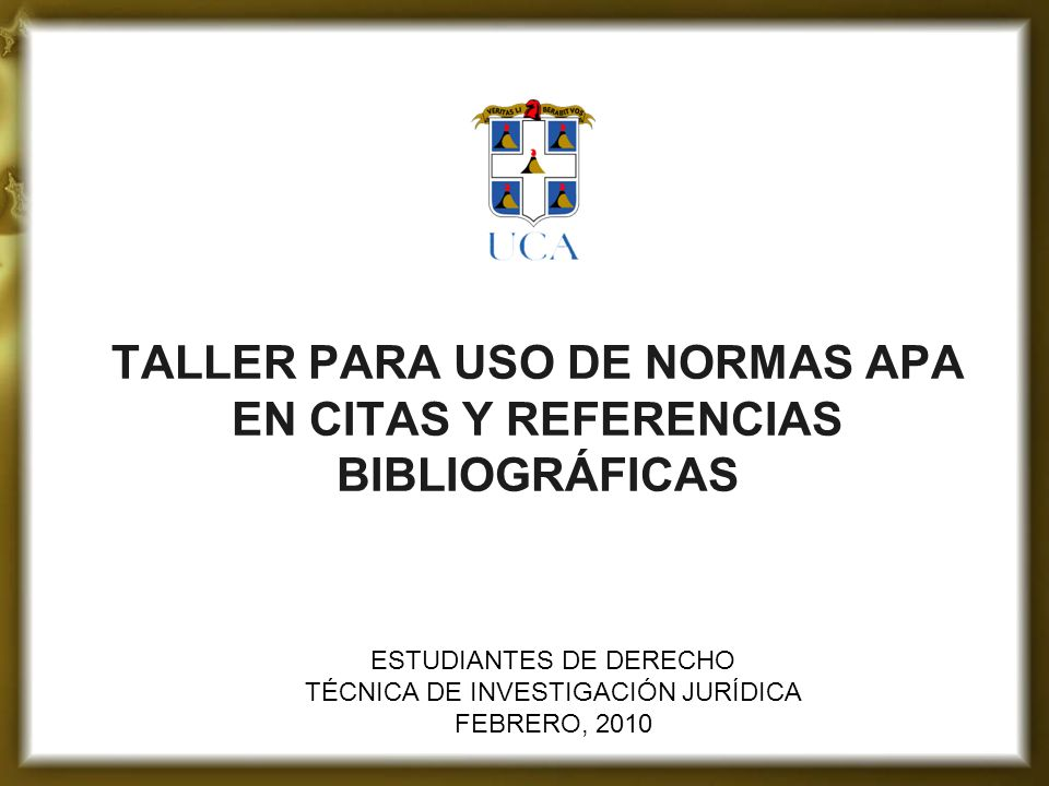 Taller Para Uso De Normas Apa En Citas Y Referencias Bibliográficas