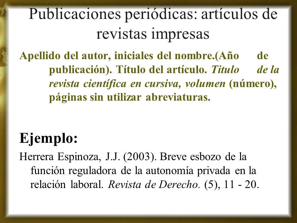 Publicaciones periódicas: artículos de revistas impresas