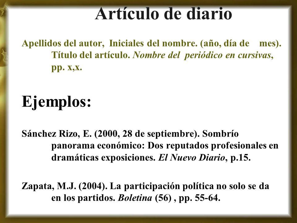 Artículo de diario Ejemplos:
