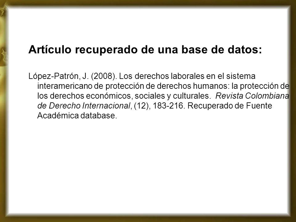 Artículo recuperado de una base de datos: