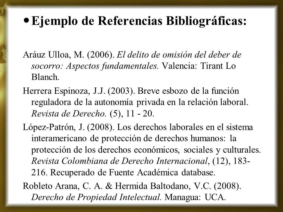 Ejemplo de Referencias Bibliográficas: