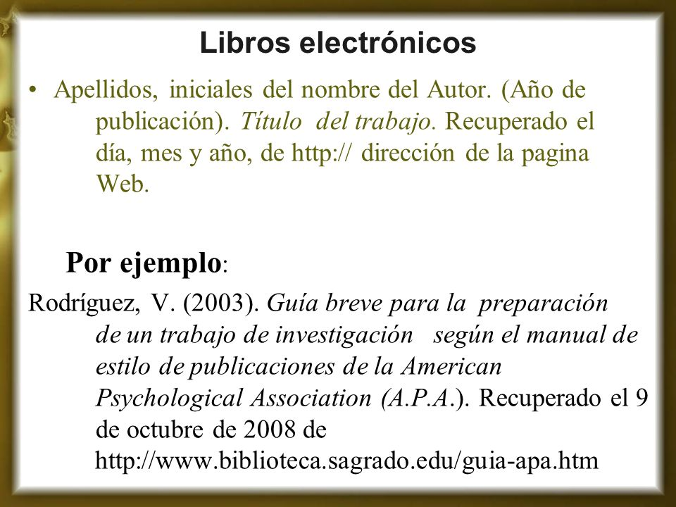 Libros electrónicos Por ejemplo: