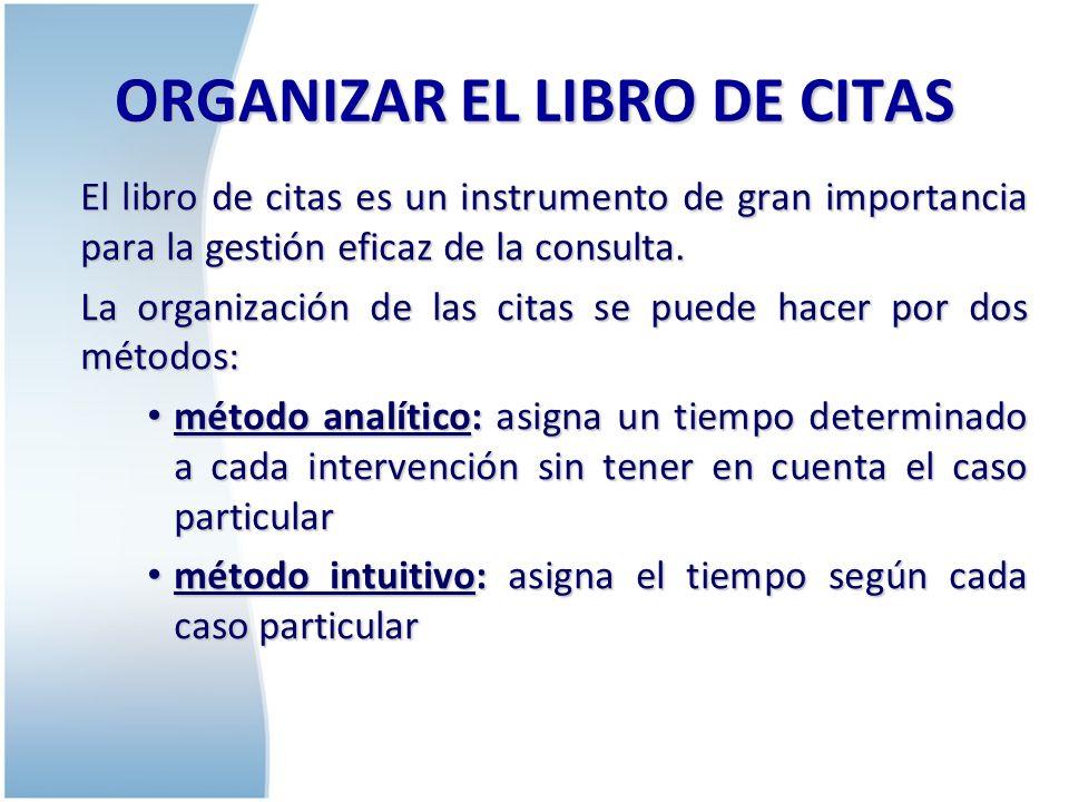 ORGANIZAR EL LIBRO DE CITAS