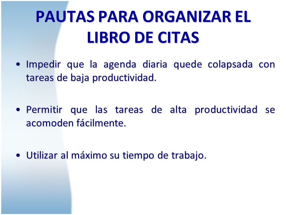 PAUTAS PARA ORGANIZAR EL LIBRO DE CITAS