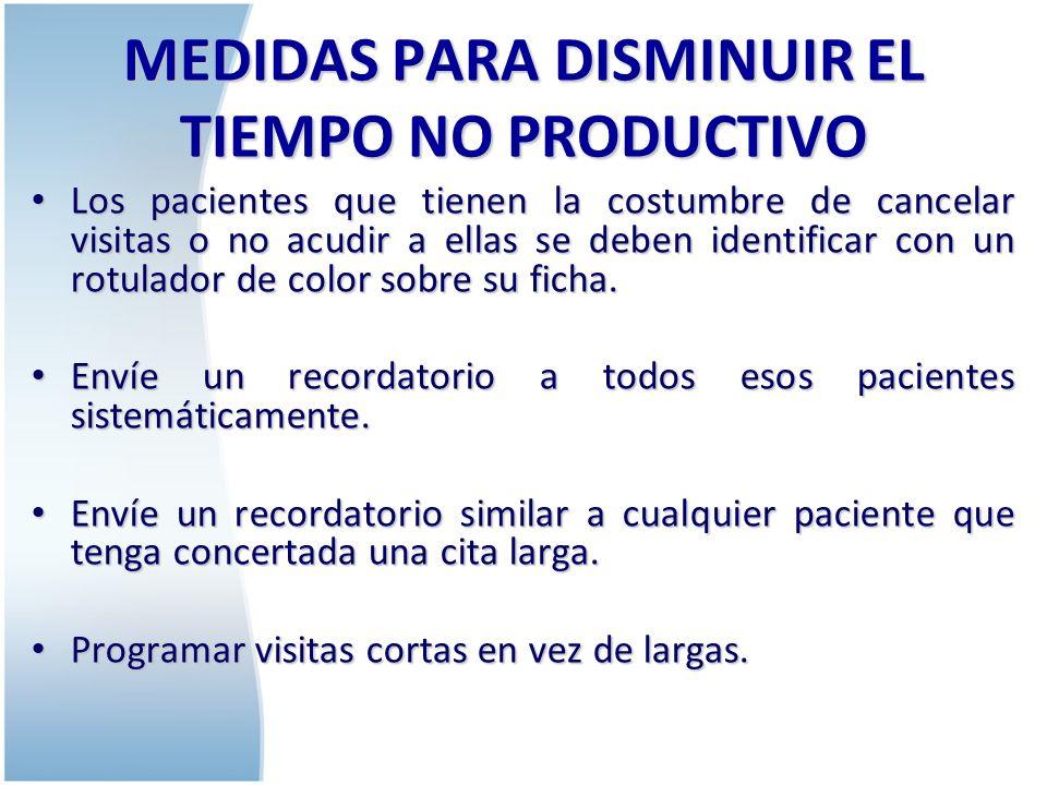 MEDIDAS PARA DISMINUIR EL TIEMPO NO PRODUCTIVO