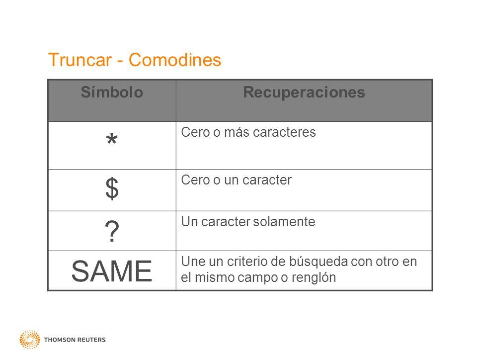 * SAME $ Truncar - Comodines Símbolo Recuperaciones