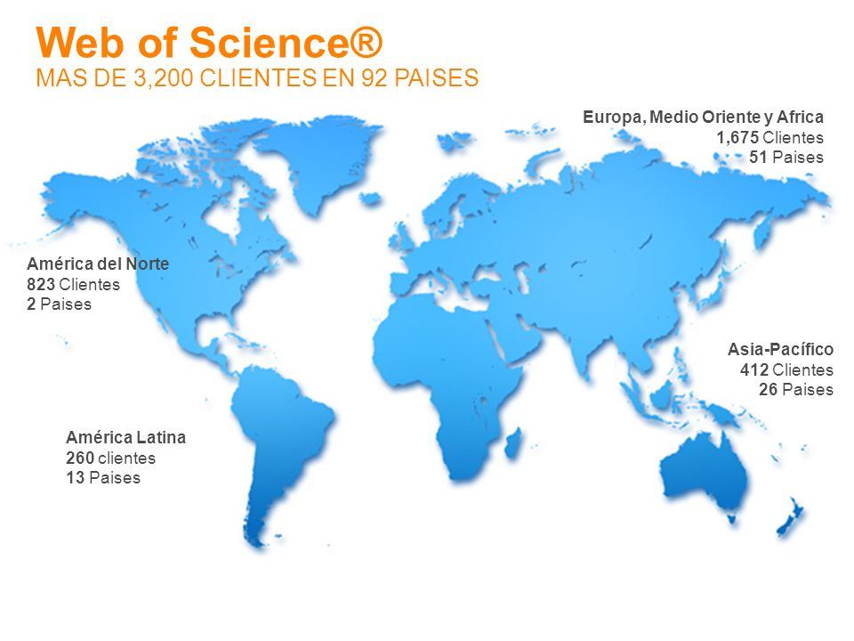 Web of Science® MAS DE 3,200 CLIENTES EN 92 PAISES