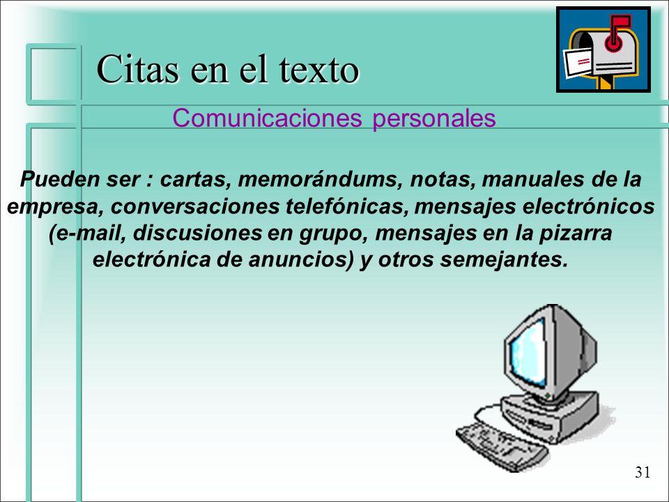 Citas en el texto Comunicaciones personales