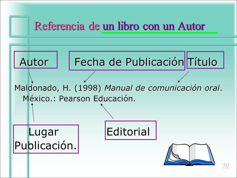 Referencia de un libro con un Autor