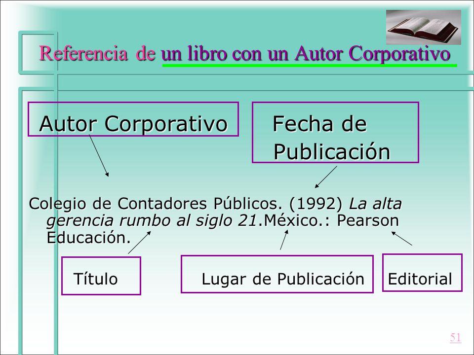 Referencia de un libro con un Autor Corporativo