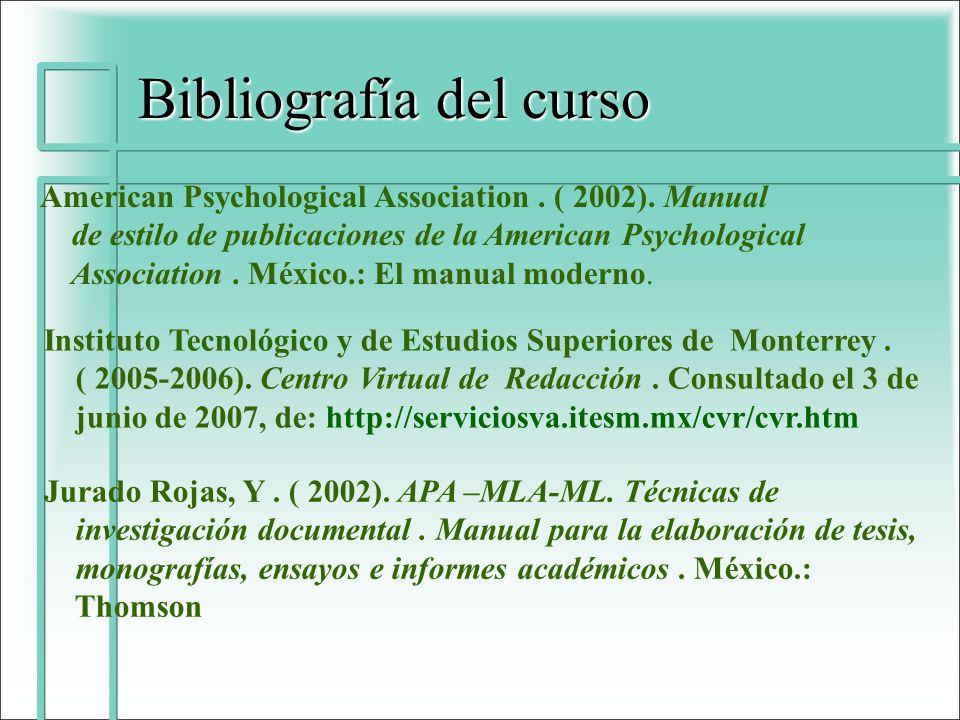 Bibliografía del curso
