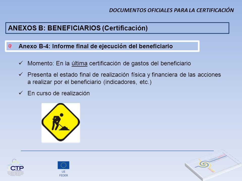 ANEXOS B: BENEFICIARIOS (Certificación)
