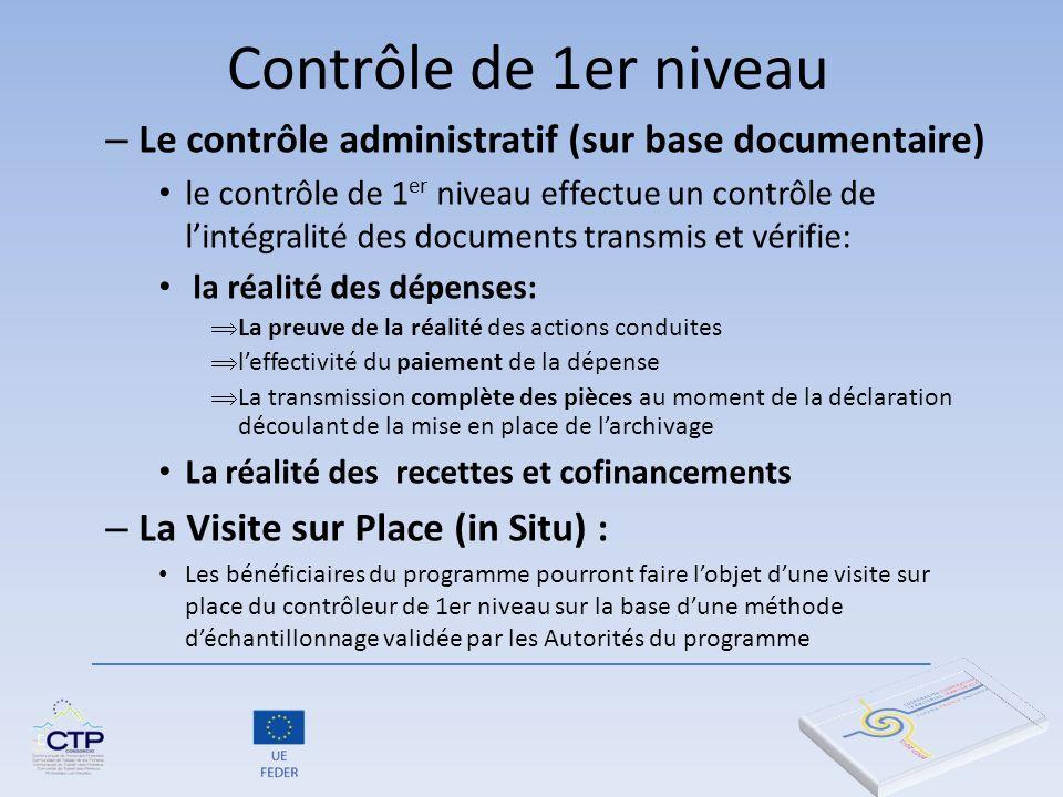 Contrôle de 1er niveau Le contrôle administratif (sur base documentaire)