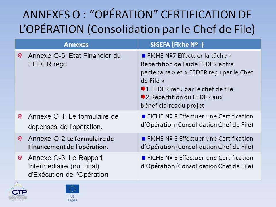 ANNEXES O : OPÉRATION CERTIFICATION DE L'OPÉRATION (Consolidation par le Chef de File)