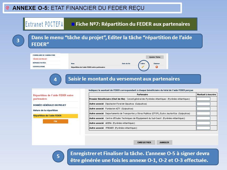ANNEXE O-5: ETAT FINANCIER DU FEDER REÇU