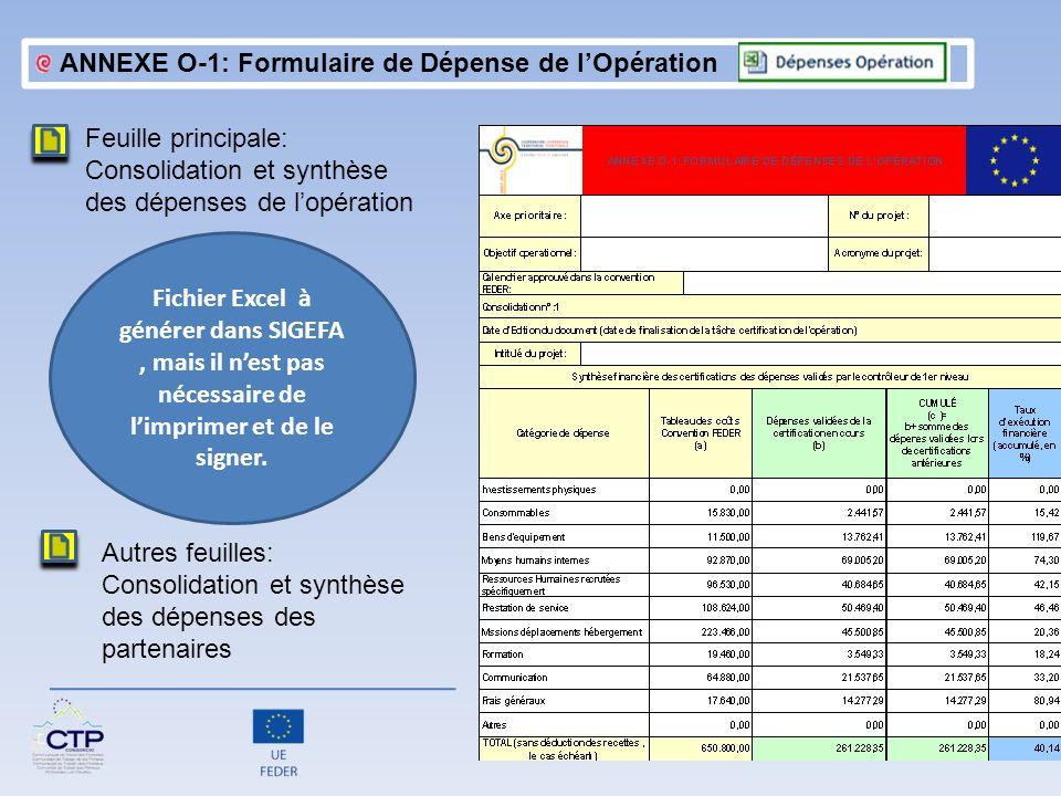 ANNEXE O-1: Formulaire de Dépense de l'Opération