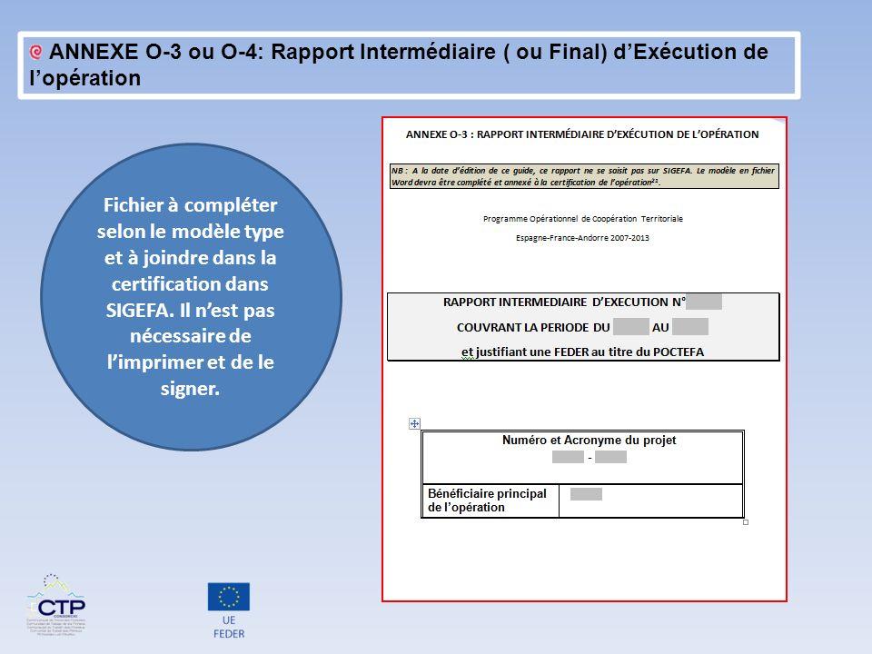 ANNEXE O-3 ou O-4: Rapport Intermédiaire ( ou Final) d'Exécution de l'opération