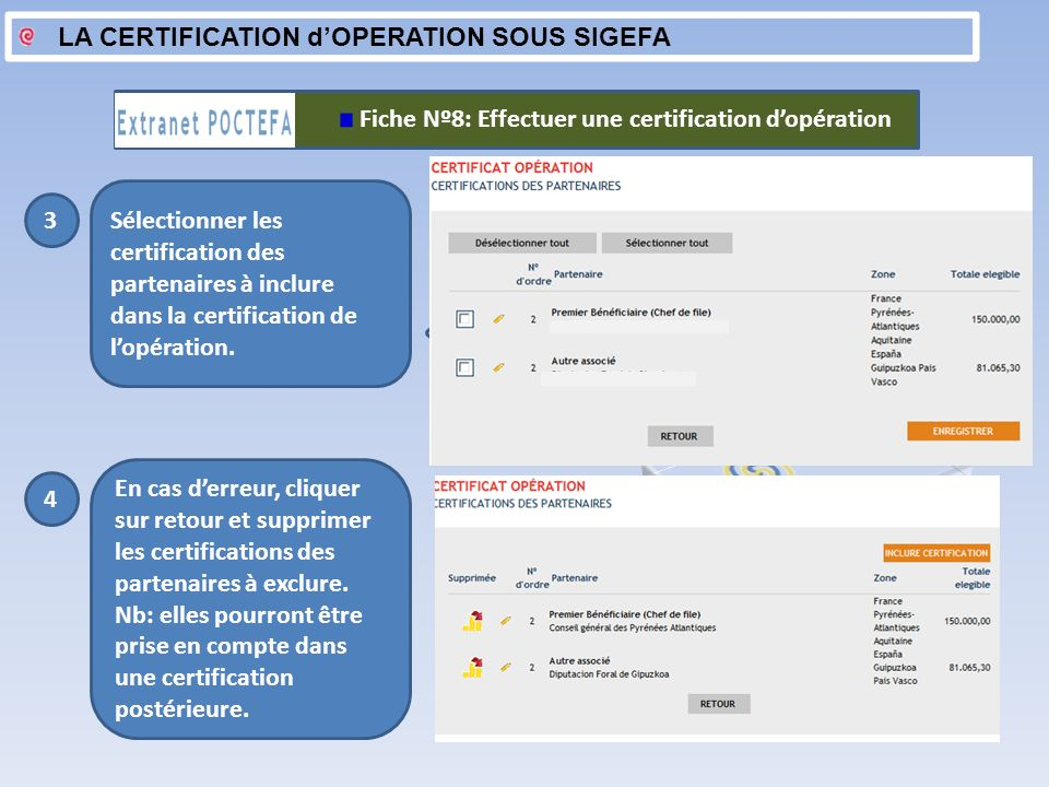 LA CERTIFICATION d'OPERATION SOUS SIGEFA