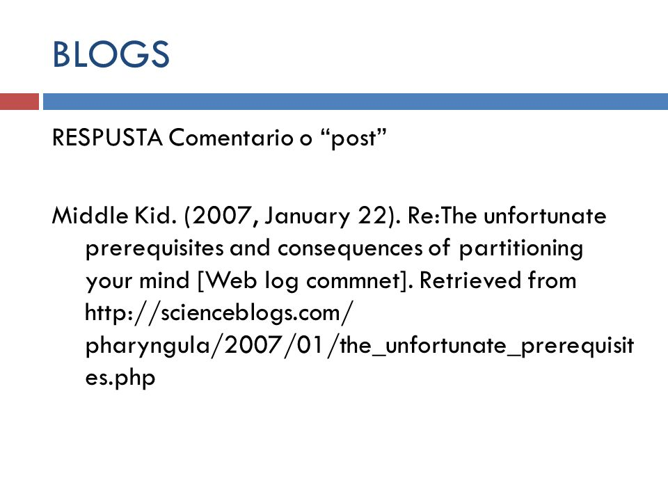 BLOGS RESPUSTA Comentario o post