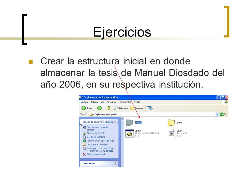 Ejercicios Crear la estructura inicial en donde almacenar la tesis de Manuel Diosdado del año 2006, en su respectiva institución.