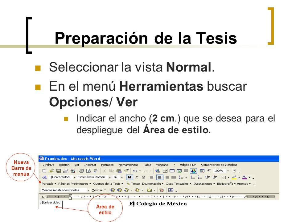 Preparación de la Tesis