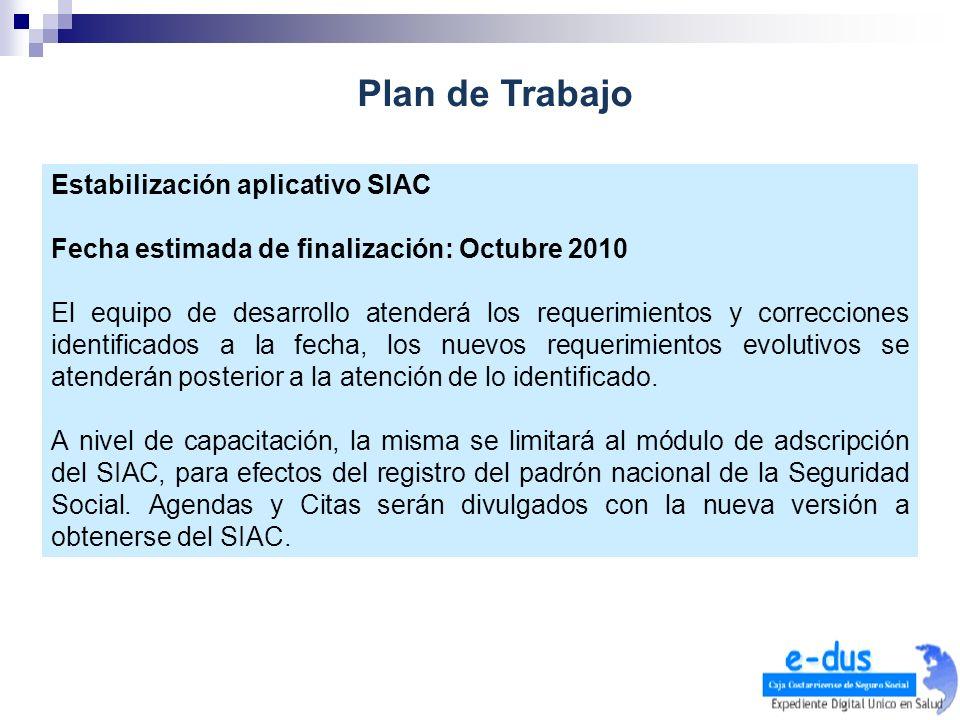 Plan de Trabajo Estabilización aplicativo SIAC