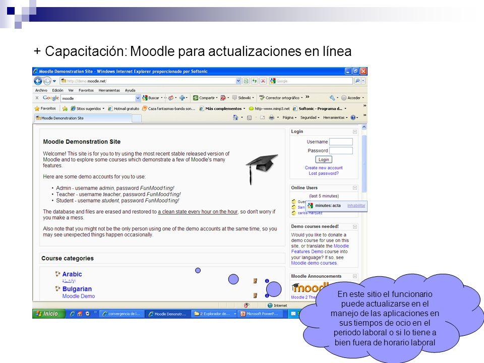 + Capacitación: Moodle para actualizaciones en línea