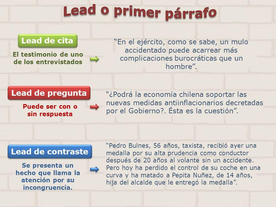 Lead de cita Lead de pregunta Lead de contraste Lead o primer párrafo